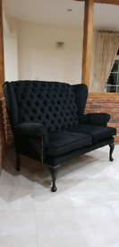 Black Chesterfield 2 Seat Sofa