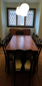 East Indian Dining Room Solid Wood Table with 8 Chairs