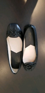 Michael Kors Fulton MK Buckle Leather Moccasin Flats in Black