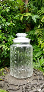Vintage Raised Glass Relief Glass Canister Apothecary Jar