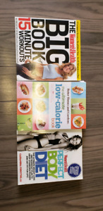 Workout book, diet book, and cookbook