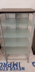 Glass & wood contemporary shelving unit - RE-DECORATING SALE