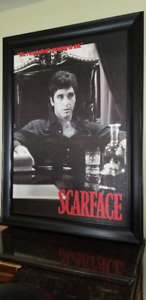 HUGE SCARFACE MOVIE POSTER BLACK FRAMED AL PACINO NICE PHOTO!