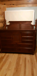 SOLID MAPLE DRESSER AND MIRROR