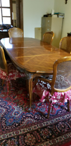 Century Furniture Solid Wood Inlaid Dining Table and Six Chairs