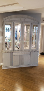 Glass Hutch on four door wooden base with drawer