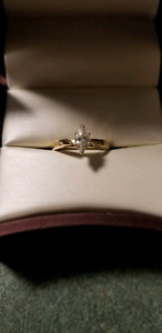 Marquise cut diamond engagement ring 14k gold