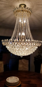 Massive 17 light Crystal & Brass Empire (Bag) Style Chandelier