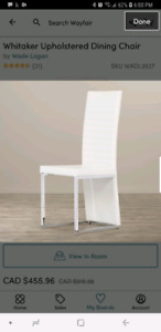 White leather dining chairs BNIB
