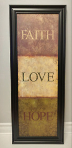 Home Decor | Hanging Wall Art: Quote Print (Faith, Love, Hope)
