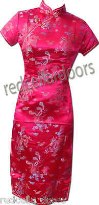 New Womens Cheongsam Chinese Hot Pink Dress Dragons Phoenix Sz 32 34 36 38 40 42 Phoenix Chinese Dresses