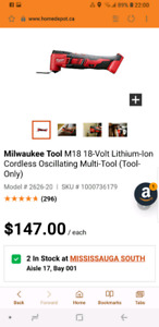 Brand New Milwaukee M18 Oscillating Multi Tool #2626-20 ToolOnly