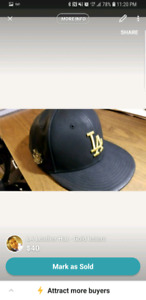 LA Leather Hat - Gold letters