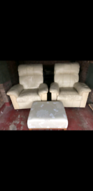 Cream leather recliner chairs x2