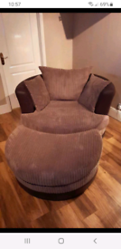 Large swivel chair and footstool (can be delivered)