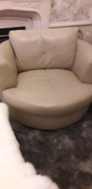 Beige Italian leather sofa with cuddle chair