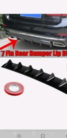 85cm Universal Shark Fin 7 Wing Lip Rear Bumper Diffuser Spoiler Gloss