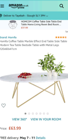 New Homfa Marble Effect Coffee Table
