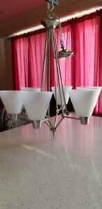 Brushed Nickel 6-Light White Etched Glass Chandelier