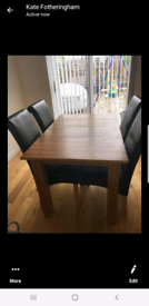 Oak dining dining table with 4 chairs