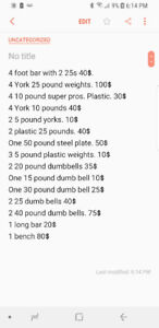 Weights bench 2 bars
