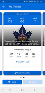 Toronto Marlies vs. Rochester Americans 2 Tickets-  January 12th