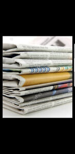 Wanted old newspapers or rolls of paper for bird cages