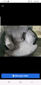 Large grey cord swivel chair