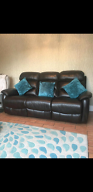 Walnut / brown recliner Leather Sofa 3 seater & 1 chair Harvey Norman