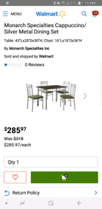 Small apartment/condo sized dining set with 4 chairs.
