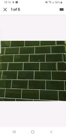 Victorian Underground Bevel Brick Bottle Green Ceramic Wall Tile