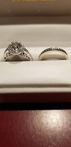Halo diamond engagement ring and wedding band