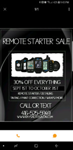 Remote starter installations please call for parts and service
