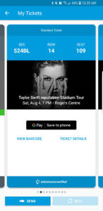 Taylor Swift concert ticket