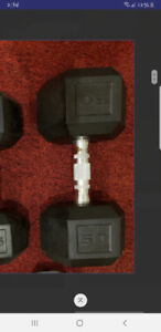 50 pound dumbbell rubber hex like new