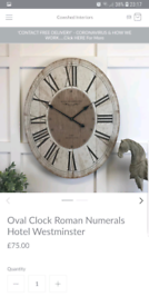 Hotel Westminster Roman Numerals Oval Clock