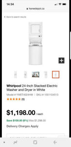 Whirlpool 24 inch stacked washer/dryer