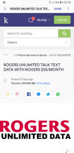 ROGERS UNLIMITED TALK TEXT DATA WITH ROGERS $55/MONTH