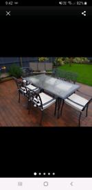 Glass aluminium garden table 6 chairs