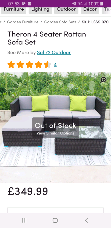 new product 551fe a313f Brand new Wayfair outdoor corner sofa and coffee table | in Norwich,  Norfolk | Gumtree