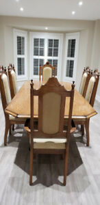 Dining Set - Solid Oak Table, Chairs & Buffet