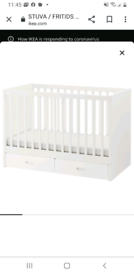 Cot bed with drawers and mattress