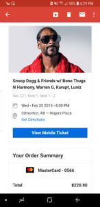 2 Snoop Dogg & Friends Tickets Feb 20th in Edmonton