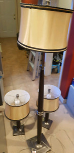 3 lamps includes 2 night table lamps plus floor lamp