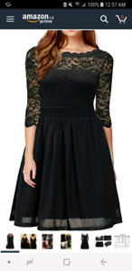 Lace knee length black dress