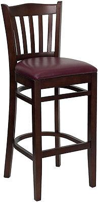 Mahogany Wood Finish Vertical Slat Back Bar Stool With Burgundy Vinyl Seat
