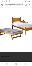 Single pine bed with trundle/guest bed with mattress exc cond