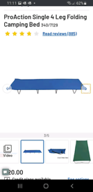 Single 4 Leg Folding Camping Bed (ProAction) new and unused