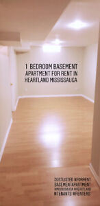 Basement apartment for rent in Heartland mississauga.  1 bedroom