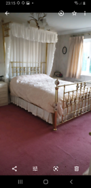 2 Poster Brass Bed, 5ft Kingsize Surround Frame with Drapes